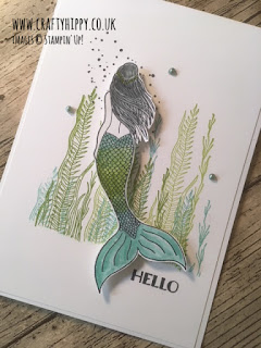 A handmade Mermaid Card in shades of light blue and green made by www.craftyhippy.co.uk using Coastal Cabana Ink and the Magical Mermaid stamp set by Stampin' Up!
