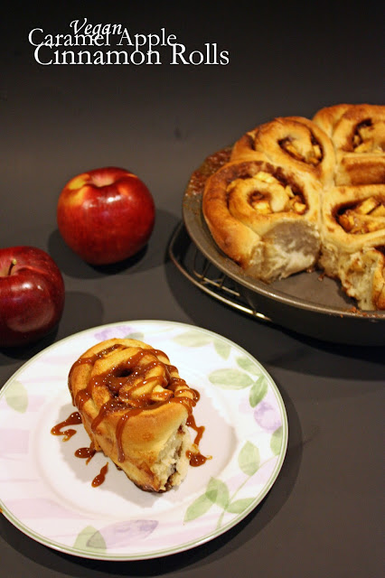 vegan caramel apple cinnamon rolls