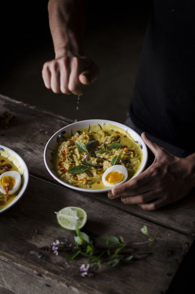 Squash curry noodle