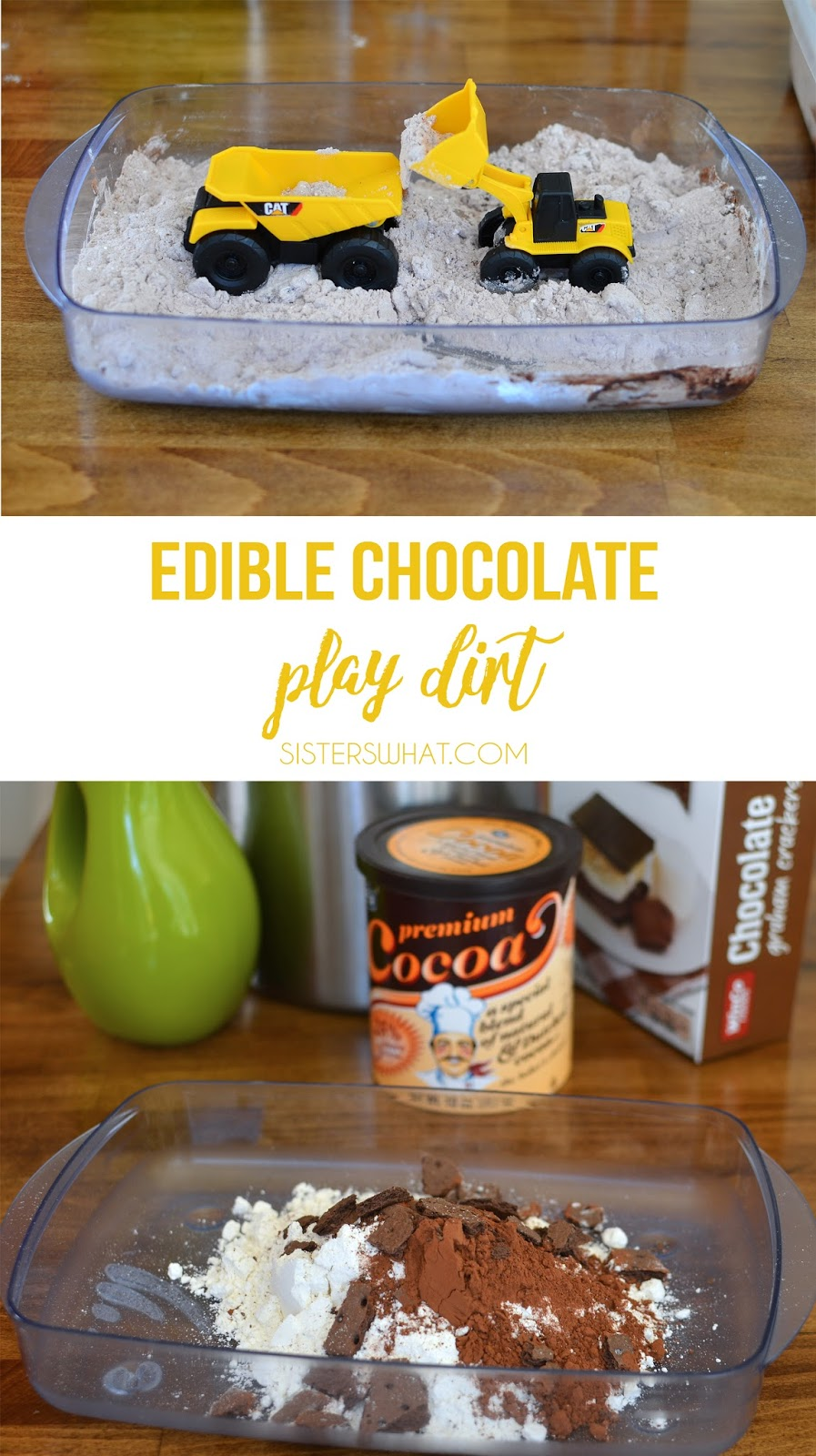 edible dirt made out of chocolate to play with mini plastic trucks or mini plastic animals