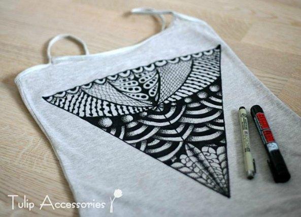 camisetas dibujadas con zentangles