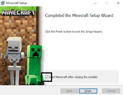 Minecraft kurulumu tamamlandı