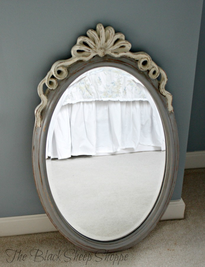 Mirror painted in Old White and Paris Grey.