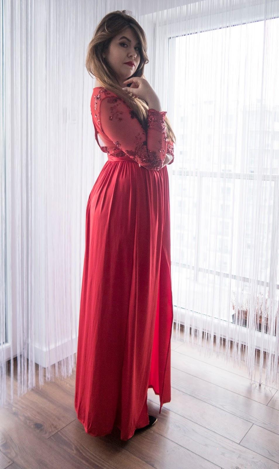 584c088c9f Tania sukienka wesele 2018. Czerwona Sukienka