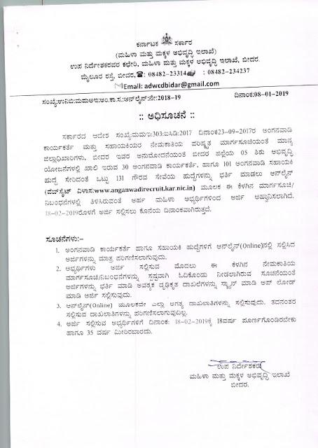 Anganwadi Worker & Assistant Post in Dept of Women & Child Development, Karnataka