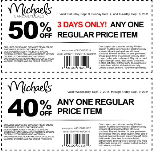 Michaels Craft Store Canada Coupons: 40% off May 16th, Smart Canucks Inc. Canadian Discount Coupons Canada I'm not sure if this is a one time use coupon or .