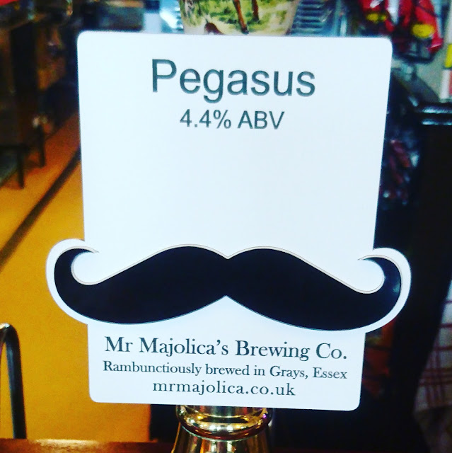 Essex Craft Beer Review: Pegasus from Mr. Majolica's Brewing Co. real ale pump clip