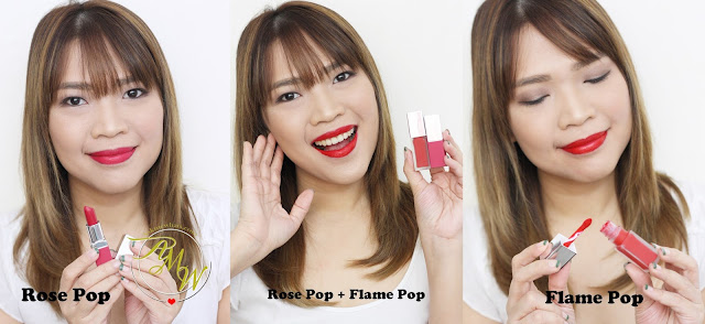 A photo of CLINIQUE Pop Matte Rose Pop + Primer and Pop Liquid Color + Primer Flame Pop
