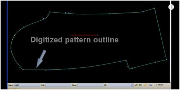 Pattern pieces digitizing with Gerber technology system