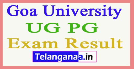 Goa University Result 2018 Goa University UG PG Results