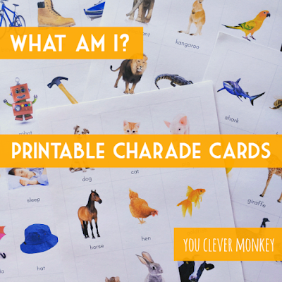 Printable Charade Cards - fun whole class game or literacy centre activity | you clever monkey