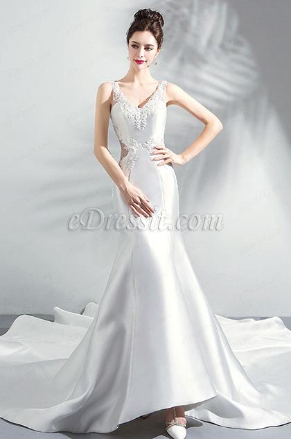 sexy v cut wedding dress long train