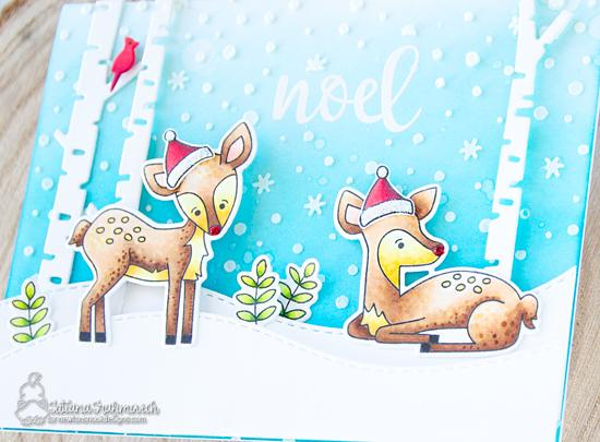 Winter Deer Card by Tatiana Trafimovich | Deer Friend Stamp Set, Petite Snow Stencil and Forest Scene Builder Die Set by Newton's Nook Designs #newtonsnook #handmade