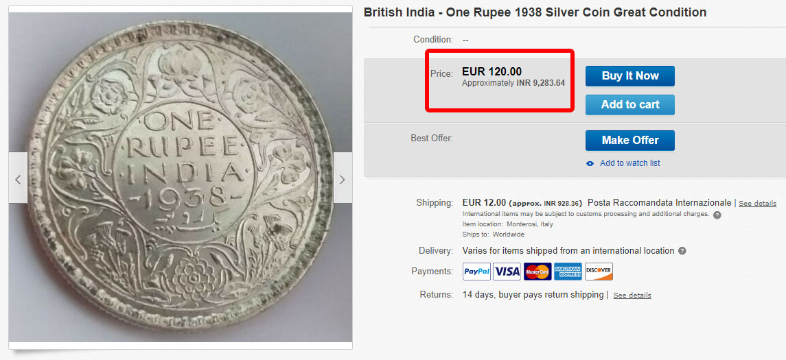 Indian Very Rare Coin Sell in High Price