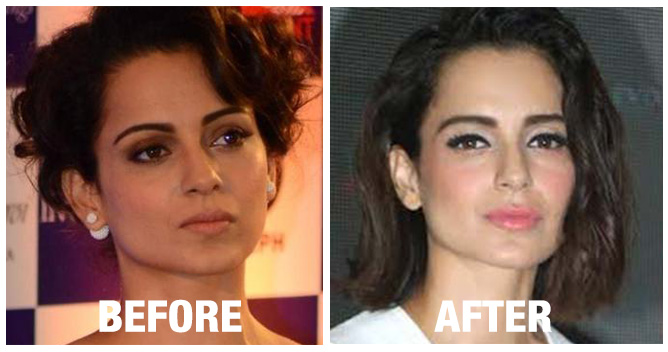 Kangana Ranaut, who went missing after the nasty fight with Hrithik Roshan, seems to have used the time to improve her looks with some slick plastic surgery.  Cosmopolitan magazine has published her before and after photos and speculated that her face looks more more chiseled now, and her lips fuller.  Kangana Ranaut's new photo came from  the event to launch Shirish Kunder's short film, Kriti.