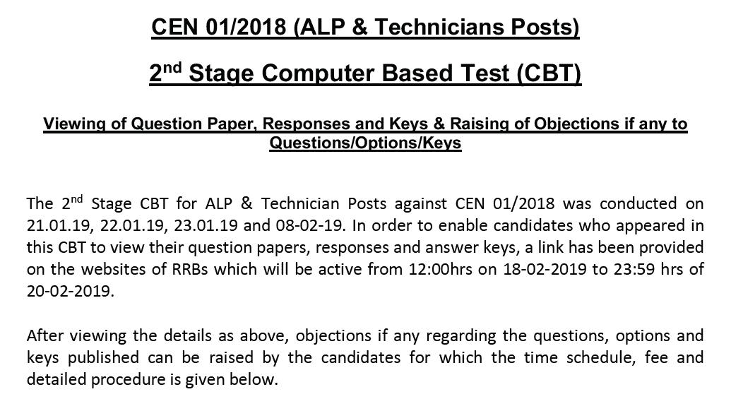 RRB ALP Technician Stage 2 answer key