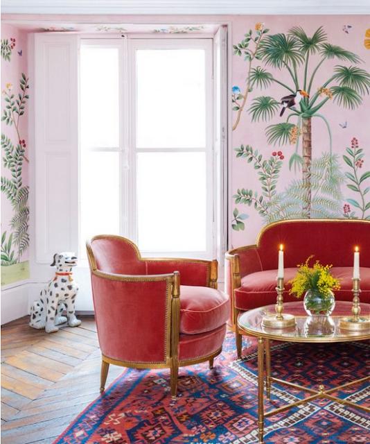 Aquazzura studio with pink de gourney wallpaper