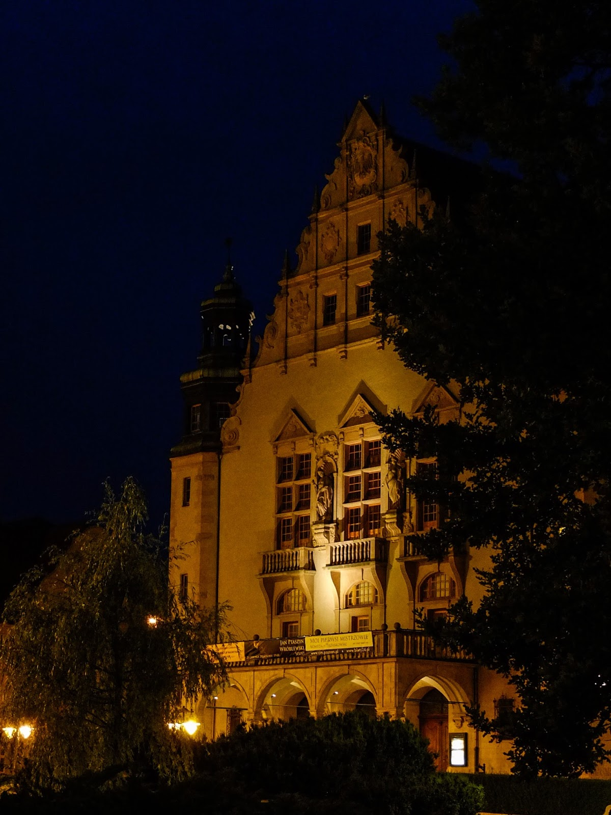 A view of the Adam Mickiewicz University in Poznań, Poland from the Mickiewicz Park at night.