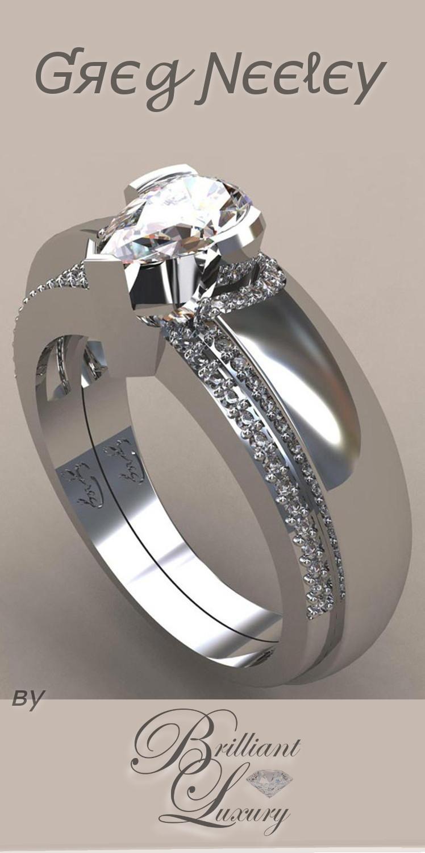 Brilliant Luxury ♦ Greg Neeley pear wrap engagement set