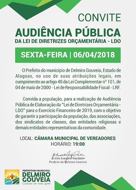 Prefeitura de Delmiro Gouveia realiza Audiência Pública de elaboração da LDO para o exercício financeiro de 2019