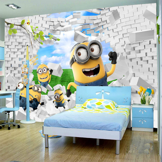 Wall Murals for Kids Rooms Wallpaper Minions 3D Bricks