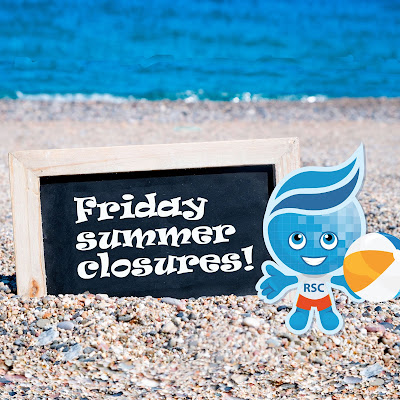 "Rio mascot Splash on beach, sign reads, ""Friday summer closures!"""