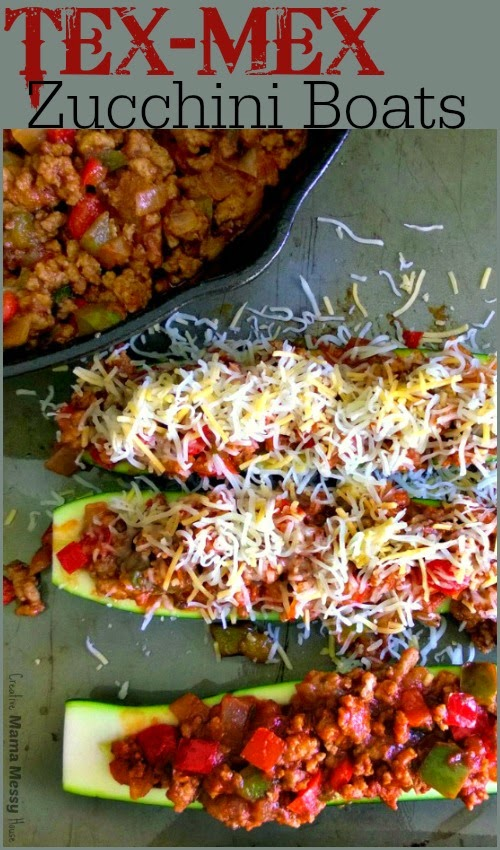 Tex Mex Zucchini Boats will give you the familiar flavors of your favorite sloppy sandwich, without the bun, and with added vegetable servings. This zucchini boats are an everyone-pleaser, and as an added bonus: they are grain and gluten-free!
