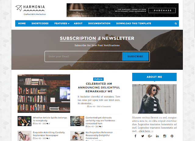harmonia new blog themes 2017