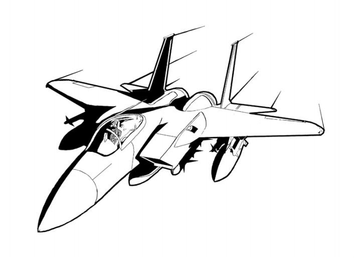 Gambar Mewarnai Pesawat Terbang Hitam Putih