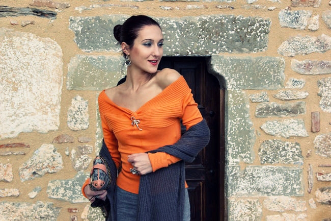 orange knitted cold shoulder sweater