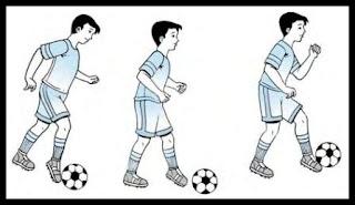 Teknik menggiring bola dengan kaki bagian tengah