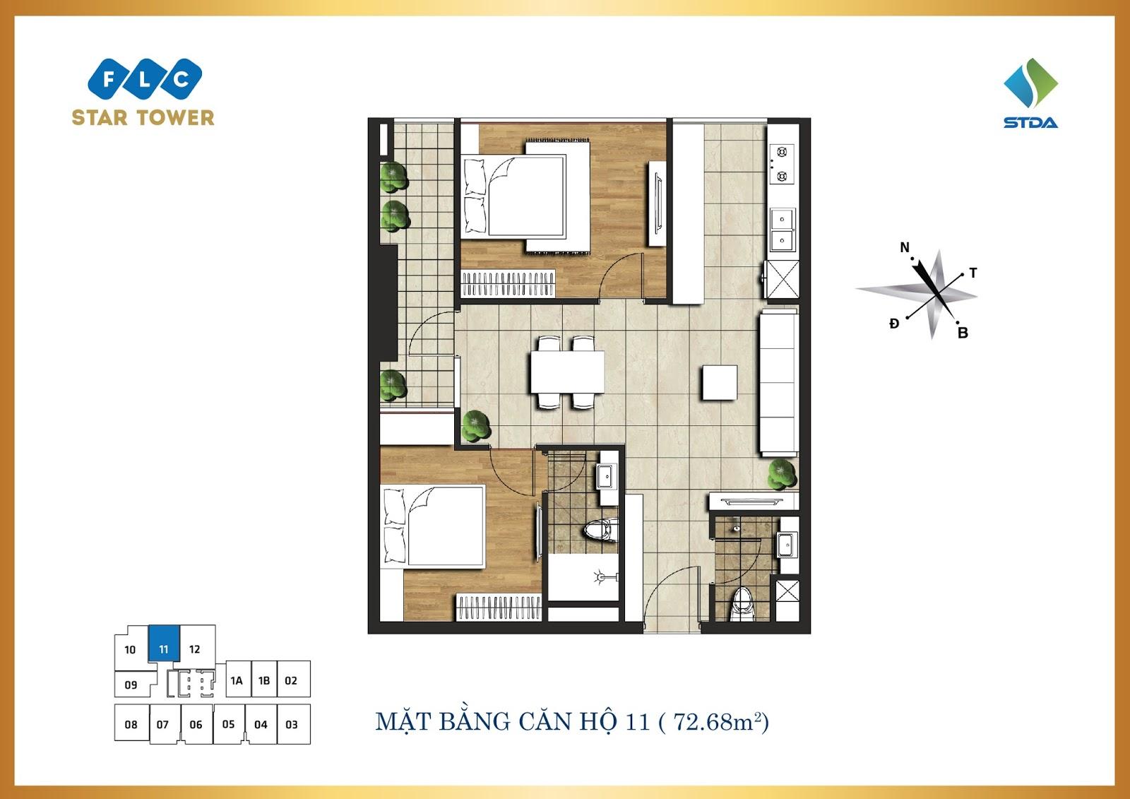 Thiết kế căn hộ số 11 - Chung cư FLC Star Tower