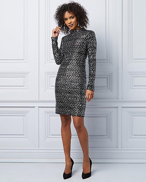 La brillante robe cocktail pailletée à manches longues - Le Château