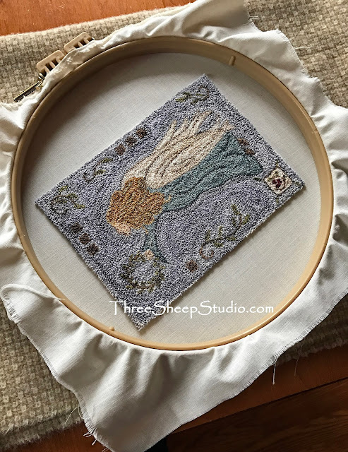 'Angel of Peace' Punch Needle Design by Rose Clay at ThreeSheepStudio.com
