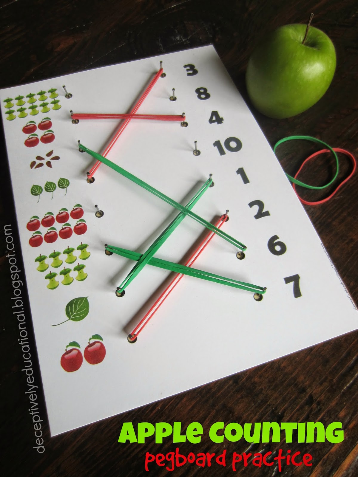 Relentlessly Fun Deceptively Educational Counting Apples Pegboard Practice
