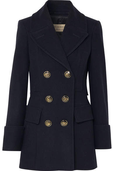 Burberry - Double-breasted Wool-felt Coat – Navy