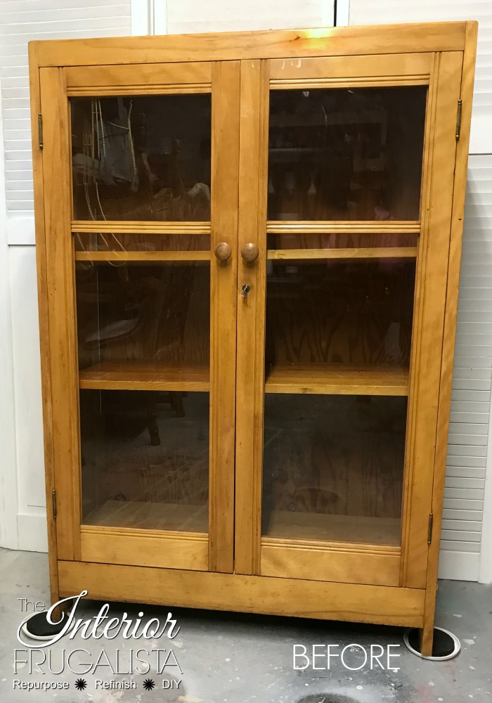 Antique Oak Bookcase Before Makeover