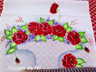 pintura de rosas para cesta de croche