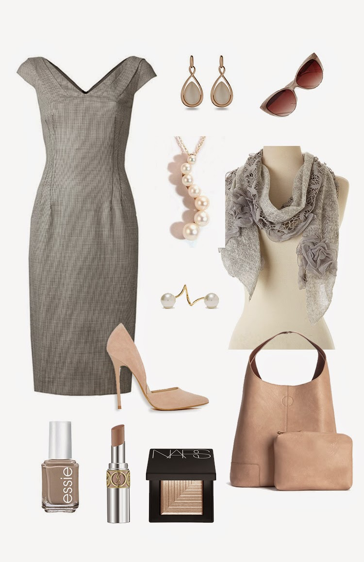 Gray and nude outfit by Pascale De Groof for She Wanders She finds
