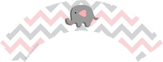 Baby Elephant in Grey and Pink Chevron Free Printable Wrappers Cupcake.