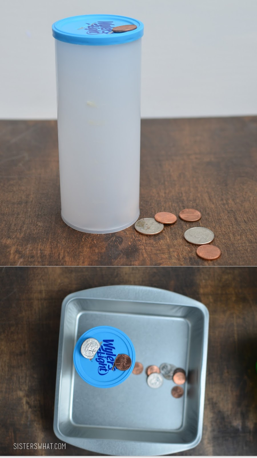 old container to use as a money bank fine motor activity for toddlers