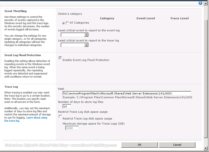 sharepoint 2010 diagnostic logging best practices