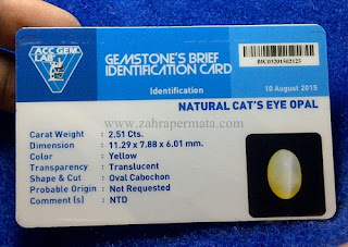 Batu Permata Cats Eye Opal +Memo - ZP 611