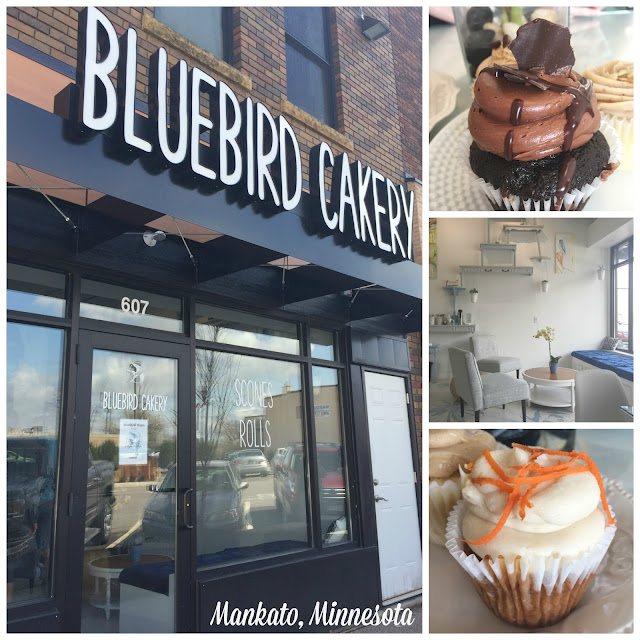All the cupcakes you could want and more! Delicious cupcakes, beautiful interior, all located in downtown Mankato! A definite must try if you're a cupcake lover! Bluebird Cakery in Mankato, Minnesota