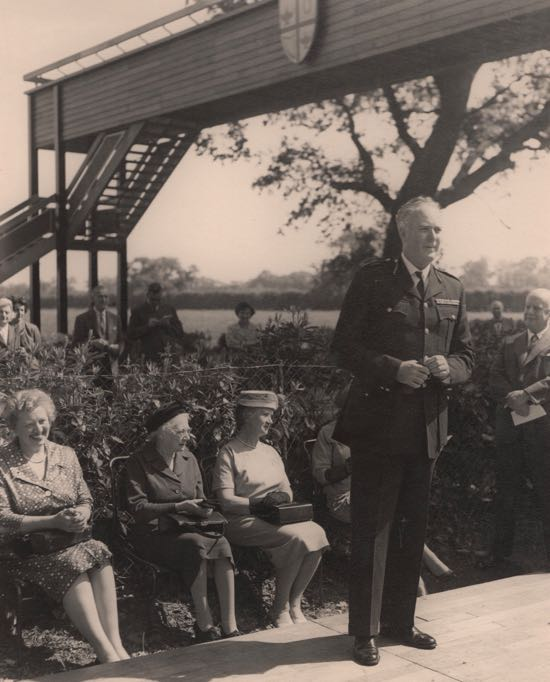 Image: Colonel Wilcox declaring the bridge open  Image courtesy of Dr Wendy Bird, Archivist at Queenswood school