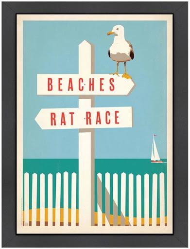 Rat Race Beaches Graphic Beach Wall Decor Sign