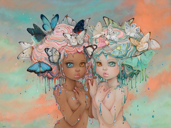 "Camilla d'Errico, ""Harmonie"" - oil on wood panel | obras de arte pop contemporaneo, pinturas, surrealismo pop, art pictures inspiration | art selecta"