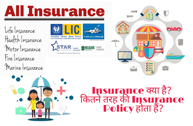 Insurance क्या है,कितने तरह की Insurance Policy होता हैं?
