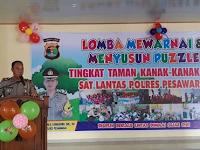 Lomba Mewarnai dan Menyusun Puzzle Tingkat TK, Polisi Sahabat Anak Berjalan Sukses