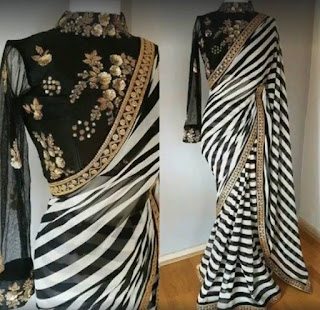 black_white_georgette_saree_nepal